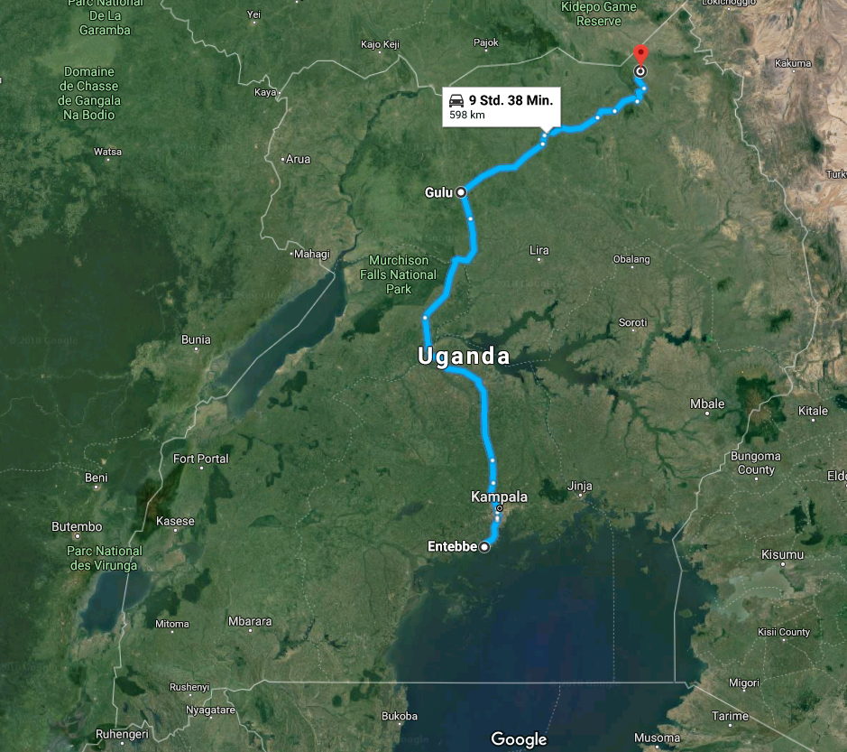2018-02-07 13_31_10-Entebbe, Uganda nach Kidepo Savannah Lodge, Kotido, Uganda - Google Maps.png