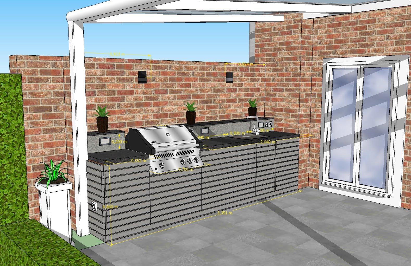 Bau Einer Aussenkuche An Der Terrassentrennwand Eines Reihenhauses