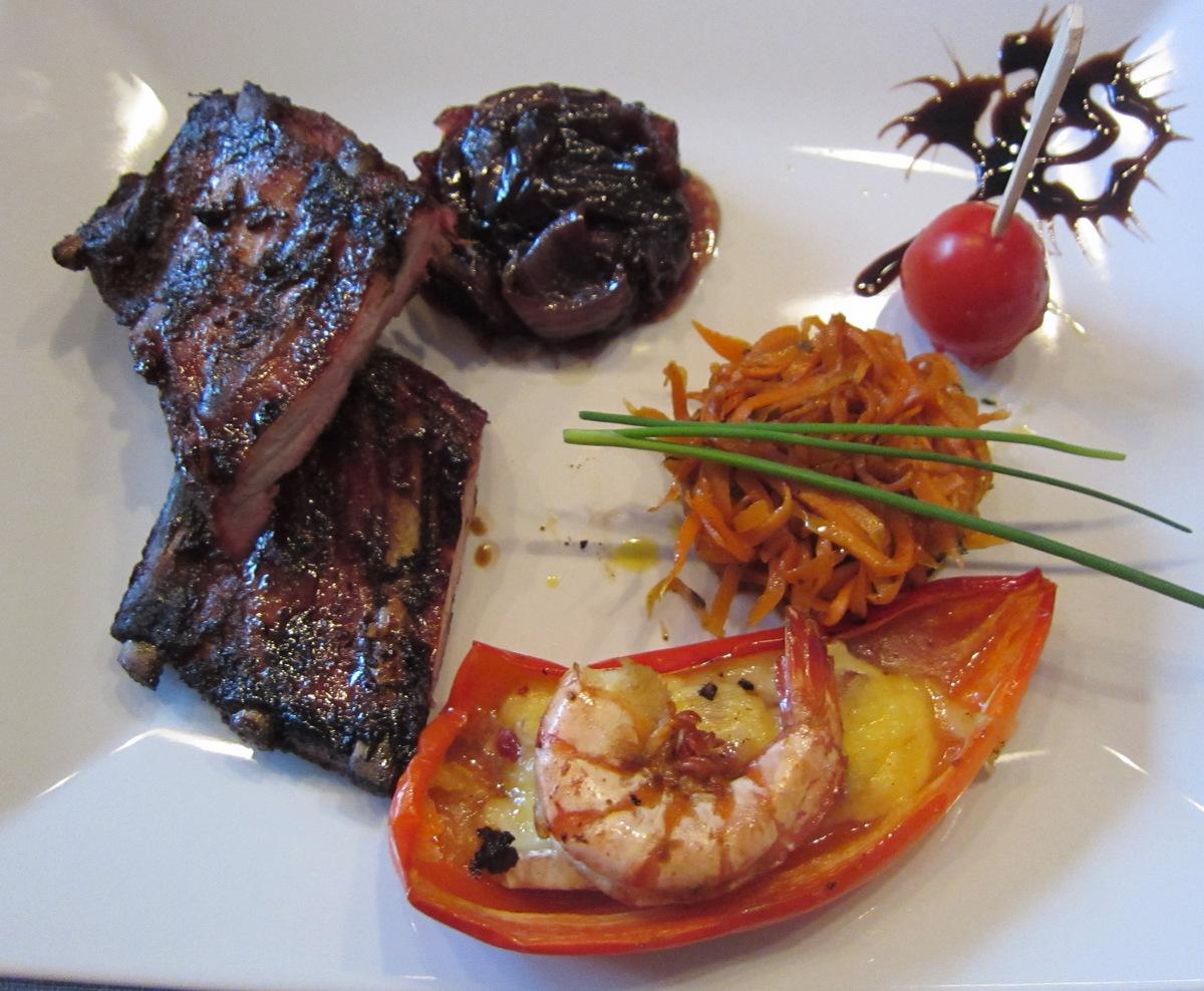 ribs mit rotwein zucker zwiebeln und besoffenen king prawns und grillforum und bbq www. Black Bedroom Furniture Sets. Home Design Ideas