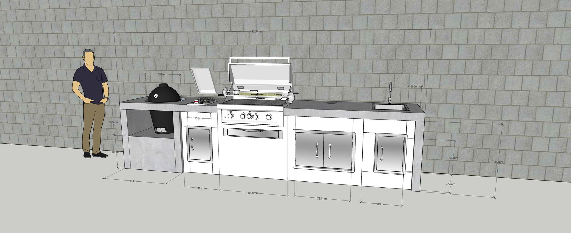 outdoor k chenzeile in betonoptik mit zwei gasgrills und kleiner sp le ideen gesucht. Black Bedroom Furniture Sets. Home Design Ideas