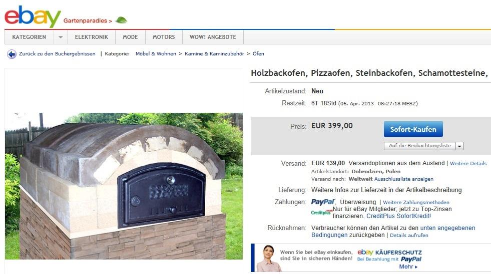 ebay holzbackofen aus polen f r 399 139 hat jemand damit erfahrung grillforum und bbq. Black Bedroom Furniture Sets. Home Design Ideas