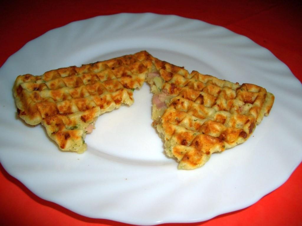 Schinken käse waffeln